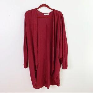 Sweet Journey Sweaters - Sweet Journey Burgundy Waffle Knit Duster Cardigan